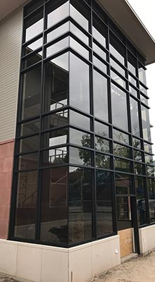 A building that had our commercial retail glass installation services in Traverse City, MI