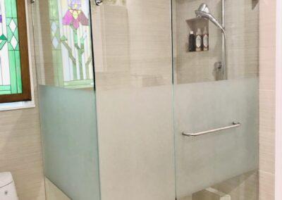 Body lined shower door