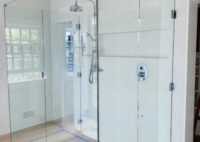 3-walled glass shower door